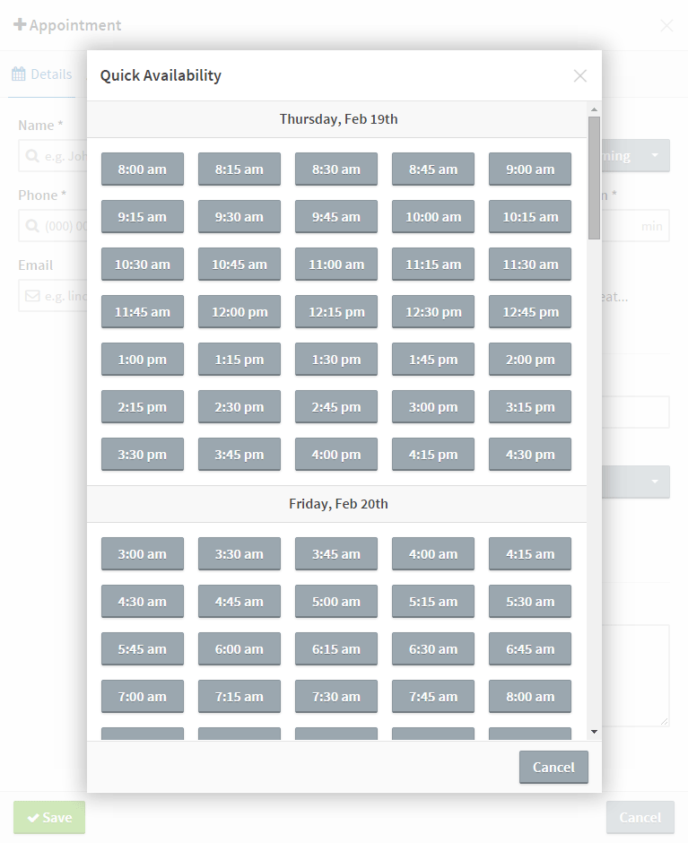 Add Appointment UI: available appointment times via Quick Availability