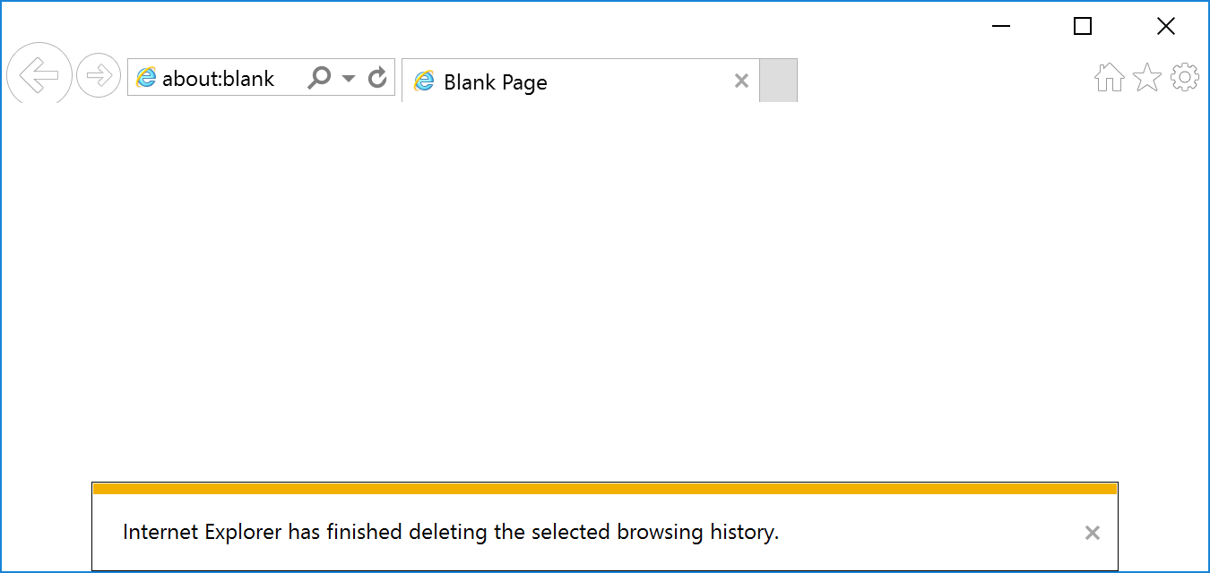 Browser history deleted confirmation