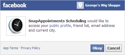 SnapAppointments Scheduling would like to access your public profile