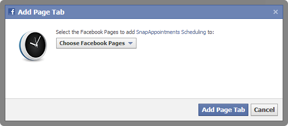 Select the Facebook pages to add SnapAppointments scheduling to.